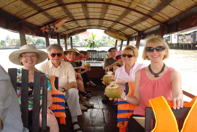 Cruising down the Mekong river