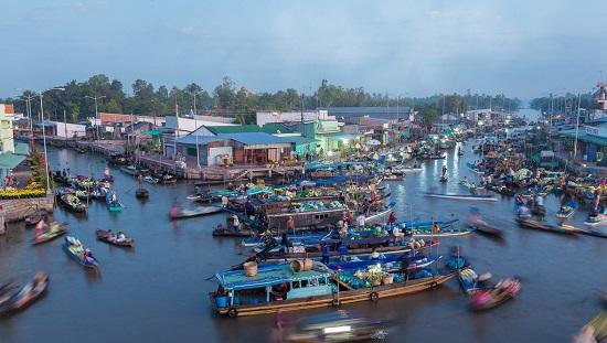 Nga Nam floating market in Mekong Delta