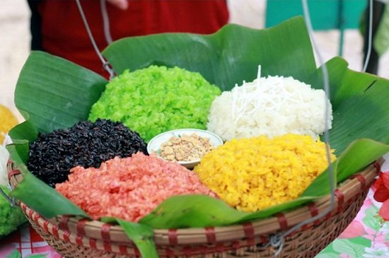 Five- colour steamed glutinous rice in Northwest of Vietnam